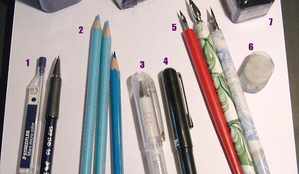 Vorzeichnungen mit blauer Farbe (inklusive Weiterbearbeitung)